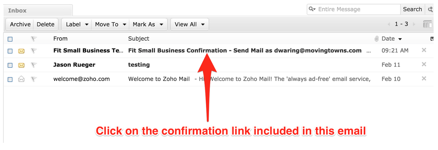 Zoho Confirmation Email